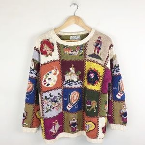 Vintage Patchwork Chunky Sweater